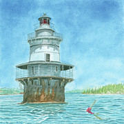 New England Lighthouse Paintings - Goose Rocks Light at High Tide by Dominic White