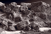 Rock  Art - Gooseberry Badlands Wyoming BW by Steve Gadomski