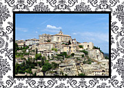Provence Village Prints - Gordes with border Print by Carla Parris