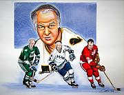 Nhl Hockey Drawings Prints - Gordie Howe Print by Dave Olsen
