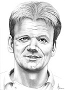 Famous People Drawings - Gordon Ramsey by Murphy Elliott