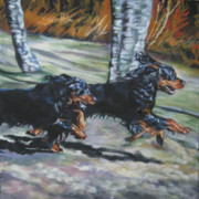 Gordon Setter Posters - gordon Setter Autumn run Poster by Lee Ann Shepard