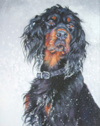 Gordon Setter Puppy Paintings - Gordon Setter in snow by Lee Ann Shepard