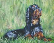 Gordon Setter Puppy Framed Prints - Gordon Setter in the Grass Framed Print by L A Shepard