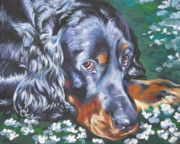 Gordon Setter Puppy Paintings - Gordon Setter in wildflowers by Lee Ann Shepard