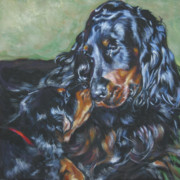 Gordon Setter Puppy Paintings - Gordon Setter Mom and pup by Lee Ann Shepard