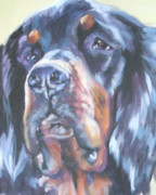 Gordon Setter Puppy Paintings - Gordon Setter Portrait by Lee Ann Shepard