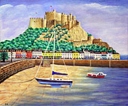 Picturesque Painting Prints - Gorey Castle - Jersey Print by Ronald Haber