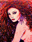 Redhead Mixed Media Framed Prints - Gorgeous Woman Framed Print by Natalie Holland
