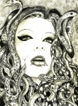 Snakes Drawings Prints - Gorgon Print by Justin Kautz