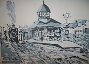 Horse And Buggy Drawings - Gorham Station Ca. 1900 by Joseph Sandora