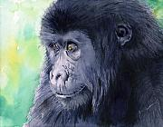 Monkey Framed Prints - Gorilla Framed Print by Galen Hazelhofer