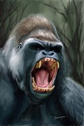 Animal Mouth Digital Art Originals - Gorilla by Mario Domingues