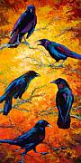 Crows Framed Prints - Gossip Column II Framed Print by Marion Rose