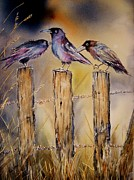 Old Fence Posts Painting Prints - Gossip Girls Print by Patricia Pushaw
