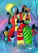 Masai Paintings - Gossipping by Sally Seago