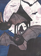 Bat Painting Posters - Got Bats Poster by Catherine G McElroy