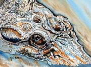 Alligator Painting Prints - Got My Eye On You Print by Maria Barry