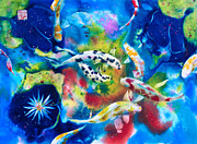 Waterscape Painting Posters - Gotan Koi Poster by Andre MEHU