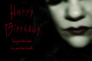 Morbid Digital Art Prints - Goth Birthday Card Print by Lisa Knechtel