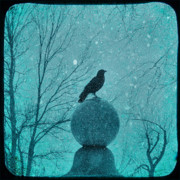 Snow Picture Prints - Goth Snow Globe Print by Gothicolors And Crows