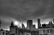 Manhattan Sunset Posters - Gotham Black and White Poster by Randy Aveille