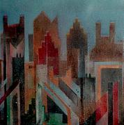 Spray Paint Painting Originals - Gothem City by Anita Burgermeister