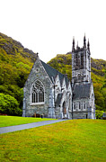 Overcast Day Framed Prints - Gothic church at Kylemore Abbey Framed Print by Gabriela Insuratelu