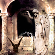 Fantasy Surreal Spooky Photography Framed Prints - Gothic Gargoyles and Angels Fantasy Dark Art Framed Print by Kathy Fornal