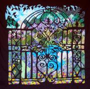Quilted Wall Hanging Tapestries - Textiles Posters - Gothic Gate to the Garden  Poster by Sarah Hornsby