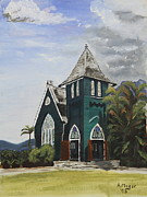 Hawai Painting Posters - Gothic Green I Poster by Alan Mager