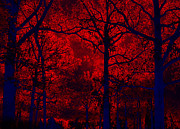 Gothic Surreal Posters - Gothic Red and Blue Surreal Fantasy Trees Poster by Kathy Fornal