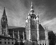 White Metal Prints - Gothic Saint Vitus Cathedral in Prague Metal Print by Christine Till