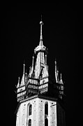 Polish City Framed Prints - Gothic Spire and crown of the 14th century gothic basilica of the Virgin Mary in rynek glowny Framed Print by Joe Fox