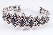 Carved Bracelet Art - Gothic sterling silver bracelet with black cubic zirconium and red ruby by Anastasia Savenko