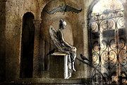 Ravens And Crows Photography Prints - Gothic Surreal Angel With Gargoyles and Ravens  Print by Kathy Fornal