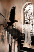 Gothic Horror Prints - Gothic Surreal Grim Reaper With Large Eagle Print by Kathy Fornal