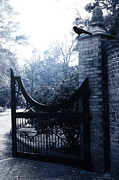 Ravens And Crows Photography Posters - Gothic Surreal Guardian Raven At Black Gate Poster by Kathy Fornal