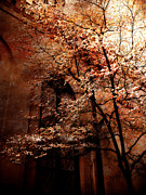 Photos With Red Photo Prints - Gothic Surreal Haunting Trees Church Yard Print by Kathy Fornal