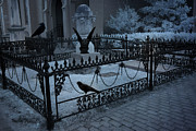 Cemetery Art Photos - Gothic Surreal Night Gargoyle and Ravens by Kathy Fornal