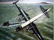 Vintage Aircraft Paintings - Gottcha - Navy P2V-7 vs Foxtrot 1967 by Ron Hamilton