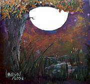 Oak Creek Mixed Media Posters - Gouache Moon Poster by Leayn Hochstine