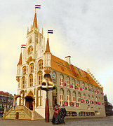 Hall Digital Art Originals - Gouda cheese City Hall by Digit Art Mariel Everling