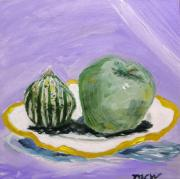 Outsider Art Paintings - Gourd and Green Apple on Haviland by Mary Carol Williams