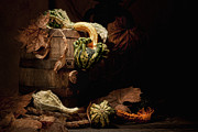 Wine Barrel Photos - Gourds and Leaves Still Life by Tom Mc Nemar