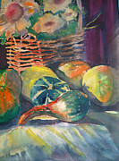 Gourds Paintings - Gourds on Display by Mary Pearson