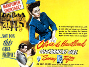 Military Uniform Metal Prints - Government Girl, Olivia De Havilland Metal Print by Everett