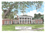 Florida Panhandle Mixed Media Prints - Governors Mansion Tallahassee Florida Print by Audrey Peaty