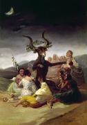 Satanic Framed Prints - Goya: Witches Sabbath Framed Print by Granger