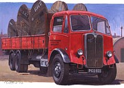 1930s Paintings - GPO Maudslay six-wheeler. by Mike  Jeffries